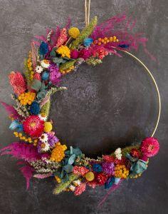Bright and Beautiful Dried Flower Metallic Hoop
