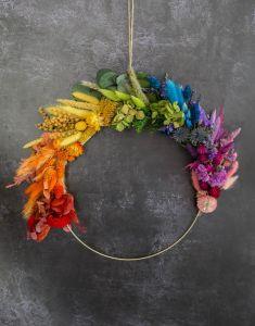 Rainbow Dried Flower Metallic Hoop