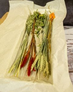 Dried Letterbox Flowers in Autumnal Colours