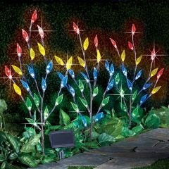 Leaf Branch Solar Garden Lights - Set of 3