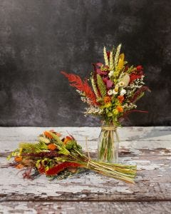 Autumnal Dried Flower Posy With Mini Milk Bottle