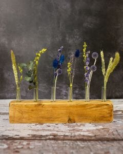 Blue and Green Dried Flower Display Piece