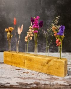 Pink and Purple Dried Flower Display Piece