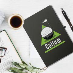 Golf Green Black Personalised Notebook