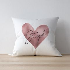 Personalised Rose Gold Heart Cushion