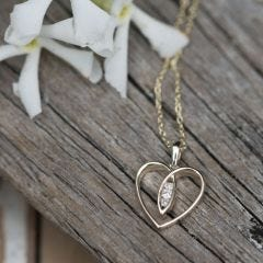 9ct Gold Heart with Diamonds Necklace