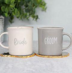 Personalised Bride & Groom Mug Set