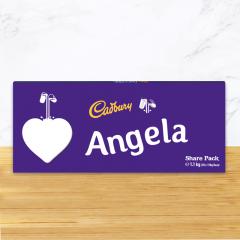 Personalised Cadbury Dairy Milk Chocolate Heart Emoji Share Pack
