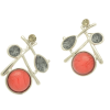 Dangly Red and Grey Crystal Earrings
