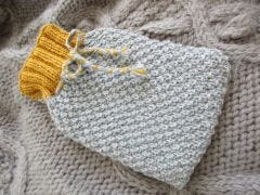 Double Moss Stitch Hot Water Bottle Cover