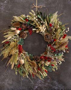 Festive Natural Dried Flower Wreath