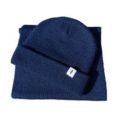 Fidir Blue Beanie Hat and Scarf Set