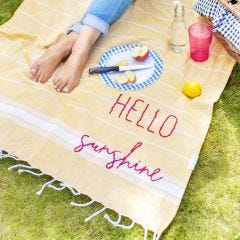 Hand Embroidered Cotton Picnic Blanket