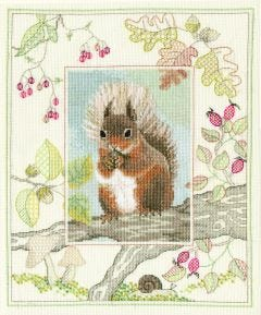 Red Squirrel Counted Cross-Stitch Kit