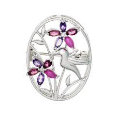 BNWB Hummingbird and Pink Gemstone Flower Oval Brooch in 925 Sterling Silver