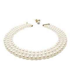 Three Strand White Round Pearl Necklace 45cm And White Pearl Stud Earrings Set
