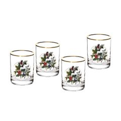 The Holly and The Ivy Double Old Fashioned Glass Set of 4
