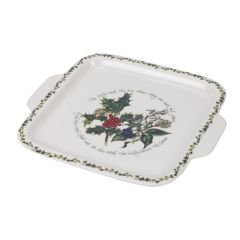 The Holly and The Ivy Square Handle Cake Plate