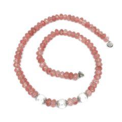 "Cherry Quartz and White Pearl 18"" Necklace"