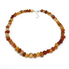 Red Agate 18 Inch Round Bead Necklace With Extender Chain