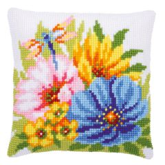 Cross Stitch Cushion Kit: Dragonfly and Flowers