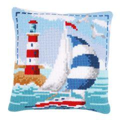 Sailing Boat Cross Stitch Cushion Front Kit