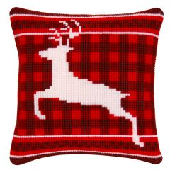 Cross Stitch Cushion Kit: White Stag on Tartan
