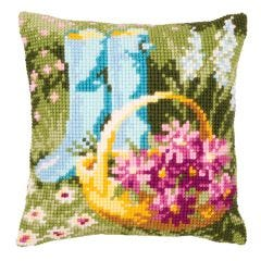 Cross Stitch Cushion Kit: Wellies and Flower Basket