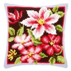 Cross Stitch Cushion Kit: Autumn Flowers