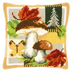 Cross Stitch Cushion Kit: Mushroom Scene
