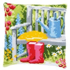 Cross Stitch Cushion Kit: Garden Bench