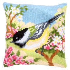 Cross Stitch Cushion Kit: Blue Tit in Blossom