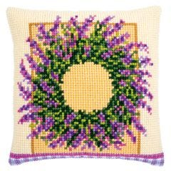 Lavender Wreath Cross Stitch Cushion Front Kit