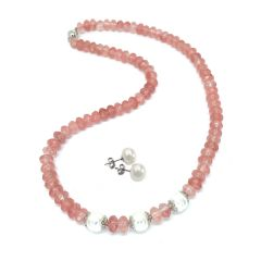 Cherry Quartz and White Pearl Necklace and White Pearl Earrings