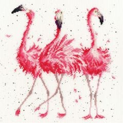 Bothy Threads Wrendale Counted Cross Stitch Pink Ladies Flamingos
