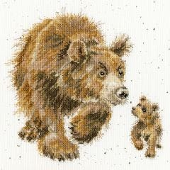 Bothy Threads Wrendale Counted Cross Stitch In My Footsteps Bear and Bear Cub