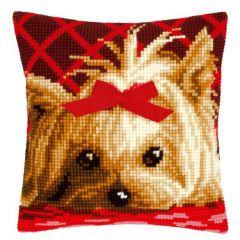 Cross Stitch Cushion Kit Yorkie with Bow