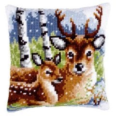 Cross Stitch Cushion Kit Deer Family