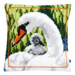 Cross Stitch Cushion Kit Swan and Cygnet