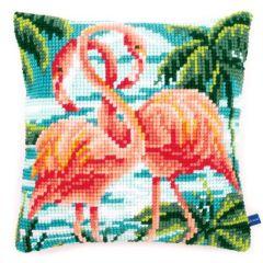 Cross Stitch Cushion Kit Pink Flamingos