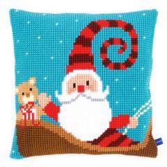 Cross Stitch Cushion Kit Santa on Sky Blue
