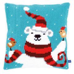 Cross Stitch Cushion Kit Polar Bear on Sky Blue
