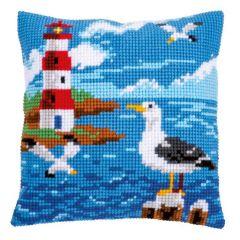 Cross Stitch Cushion Kit Seagull and Lighthouse