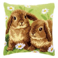 Cross Stitch Cushion Kit Rabbits in Daisies