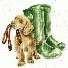 Wrendale Cross Stitch Kit Hopeful Puppy