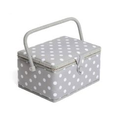Grey Polka Dot Sewing Organiser Storage Box