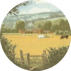 John Clayton Counted Cross Stitch Circle Kit Buttercup Meadow