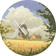 John Clayton Counted Cross Stitch Circle Kit Windmill