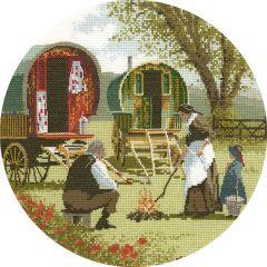 John Clayton Counted Cross Stitch Circle Kit Gypsy Caravans