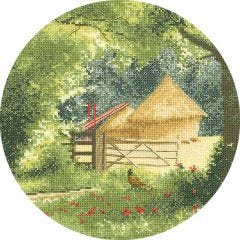 John Clayton Counted Cross Stitch Circle Kit Haystacks